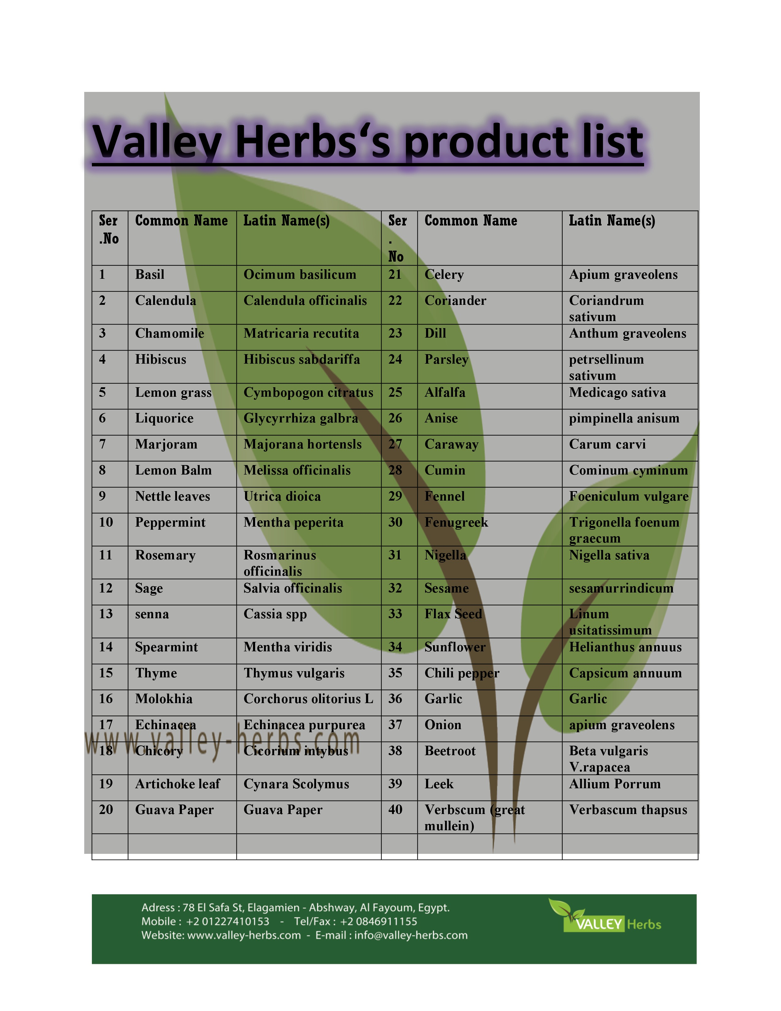 Valley Herbs product list
